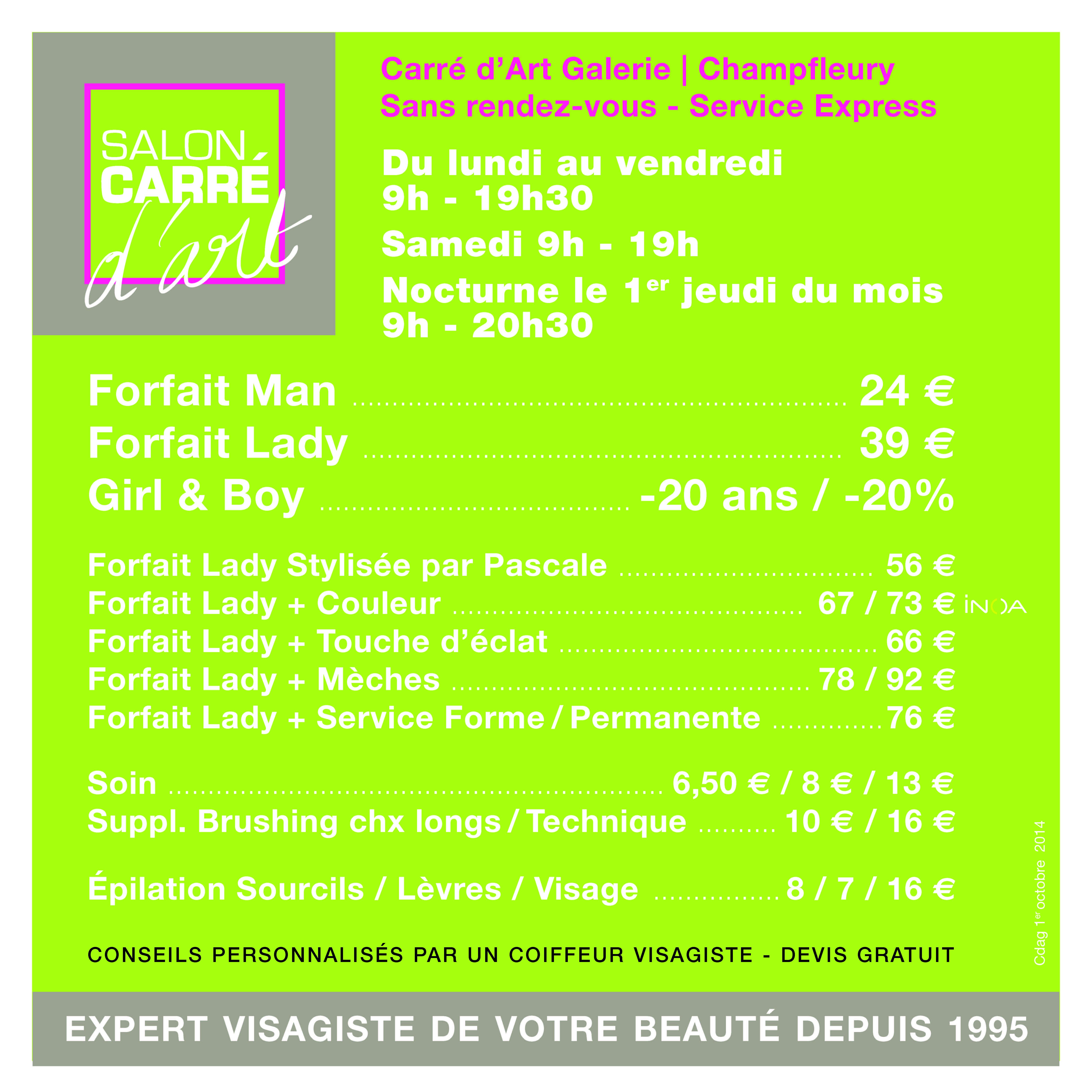 tarif salon coiffure carré d'art champfleury « Coiffeur Visagiste ...